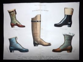 Le Moniteur de la Cordonnerie C1890 Rare Hand Colored Shoe Design Print 59